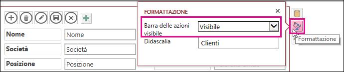Proprietà Visible ActionBar dal menu di formattazione