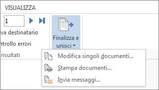 Screenshot della scheda Lettere di Word, con il comando Finalizza e unisci e le relative opzioni.