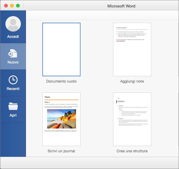 Fare doppio clic su un modello su cui basare la creazione di un nuovo documento.