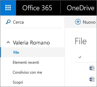 Screenshot della visualizzazione File in OneDrive for Business
