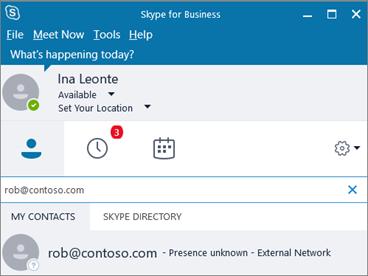 Per trovare un utente in un'azienda federata è necessario cercare il suo indirizzo e-mail (di solito è anche il suo nome utente d'accesso).
