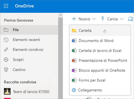 Creazione di una cartella in OneDrive