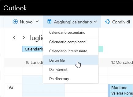 Screenshot del menu Aggiungi calendario con il comando Da file selezionato.