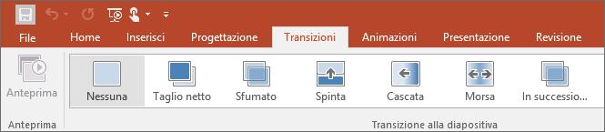 Mostra la scheda Transizioni sulla barra multifunzione di PowerPoint