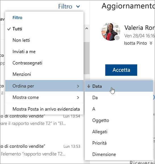 Screenshot del menu Filtra con l'opzione Ordina per selezionata