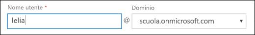 Screenshot dell'aggiunta di un utente in Office 365 che mostra i campi Nome utente e Dominio.