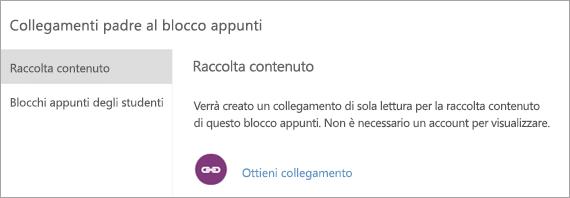 Creare collegamenti per genitori e tutori alla raccolta contenuto selezionando URL di collegamento.