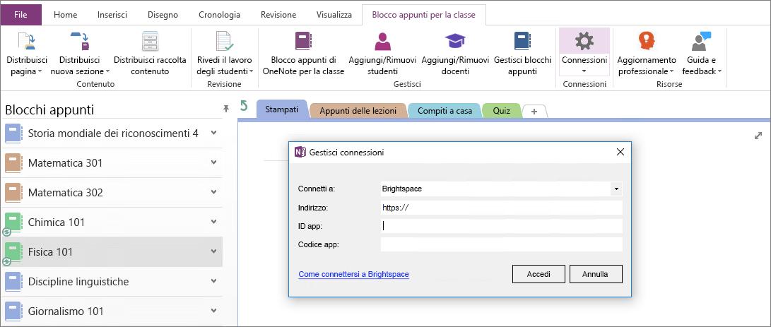 Screenshot della finestra di dialogo Connessioni del componente aggiuntivo Blocco appunti di OneNote per la classe con Criteri di gruppo non configurati.