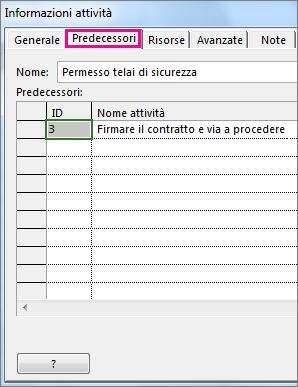 Finestra di dialogo Informazioni attività con visualizzata la scheda Predecessori.