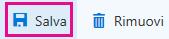 Pulsante Salva sulla barra degli strumenti della pagina Informazioni aziendali
