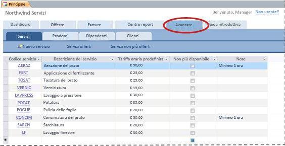 scheda avanzato del modello di database servizi