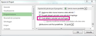 Scheda Programmazione nella finestra di dialogo Opzioni di Project