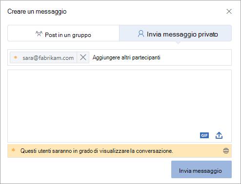 Aggiungere un partecipante esterno a un messaggio privato