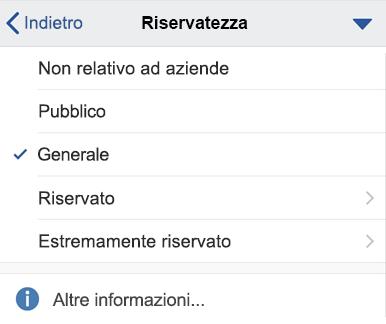 Menu sensitivity in iOS con etichette di sensitività visualizzate