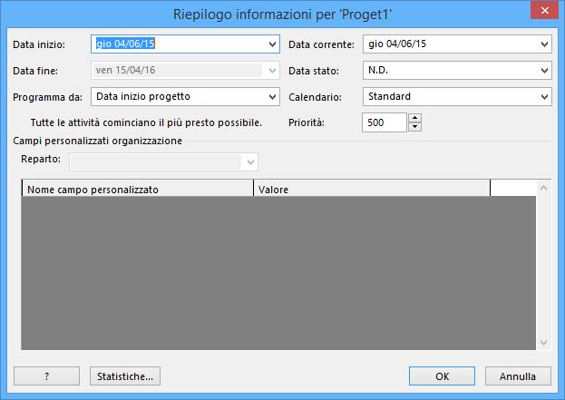 finestra di dialogo riepilogo informazioni project