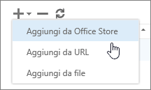 Screenshot delle opzioni disponibili nella barra degli strumenti Gestisci componenti aggiuntivi, incluse Aggiungi, Elimina e Aggiorna. Vengono visualizzate le selezioni nella finestra Aggiungi, che includono Aggiungi da Office Store, Aggiungi da un URL e Aggiungi da un file.