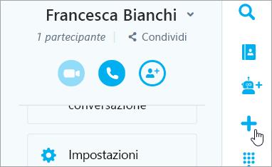 Schermata del nuovo pulsante chat