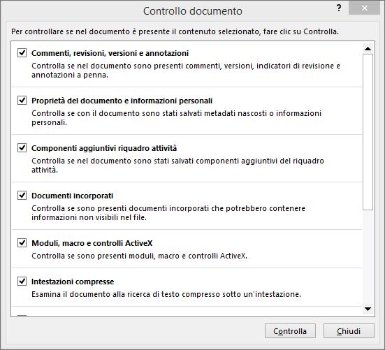 Opzioni della finestra di dialogo Controllo documento.
