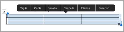 Barra dei comandi della tabella su iPad