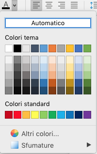 Menu di selezione Colore carattere in Word per Mac