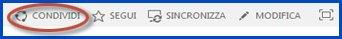 Schermata dei pulsanti di controllo del sito in un sito del team. Il pulsante Condividi è cerchiato.