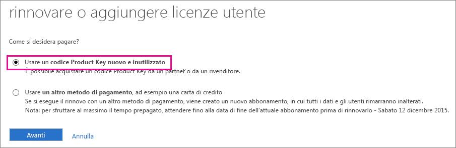 """Selezionare """"Usare un codice Product Key nuovo e inutilizzato""""."""