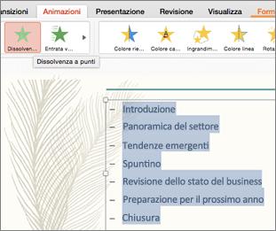 Selezionare tutti i punti elenco nella diapositiva e scegliere un effetto di animazione