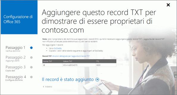 Aggiungere un record per verificare di essere proprietari del dominio