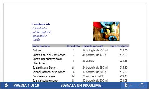 File PDF incorporato di un catalogo di prodotti visualizzato in Word Web App