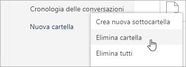 Screenshot dell'opzione di menu Elimina cartella