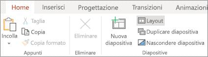 Pulsante layout nella barra multifunzione della scheda Home di PowerPoint online.