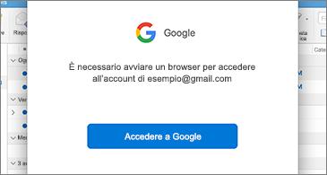 Finestra di dialogo di Google che richiede l'accesso dell'utente