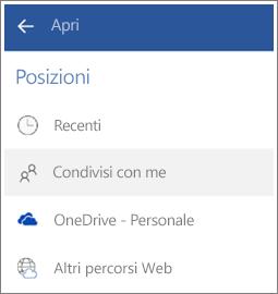 Screenshot della procedura per vedere i file condivisi da altri in Android.