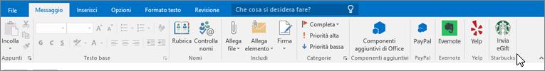 Screenshot della barra multifunzione di Outlook con lo stato attivo nella scheda Messaggio in cui il cursore punta ai componenti aggiuntivi all'estrema sinistra. In questo esempio, i componenti aggiuntivi sono per Office, PayPal, Evernote, Yelp e Starbucks.
