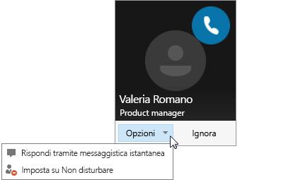 Screenshot di una notifica di chiamata con il menu Opzioni aperto.