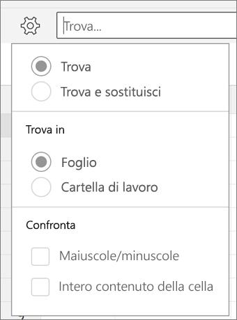 Opzioni Trova, Trova e sostituisci, Foglio, Cartella di lavoro, Maiuscole/minuscole e Intero contenuto cella per Trova in Excel per Android.