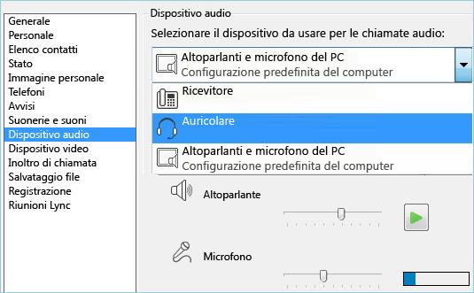 Schermata della configurazione audio