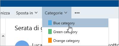 Schermata del pulsante categorie