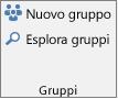 Pulsanti Nuovo gruppo e Sfoglia gruppi sulla barra multifunzione