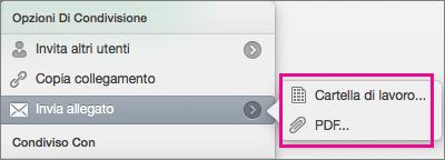 Inviare il foglio di calcolo come cartella di lavoro di Excel o file PDF