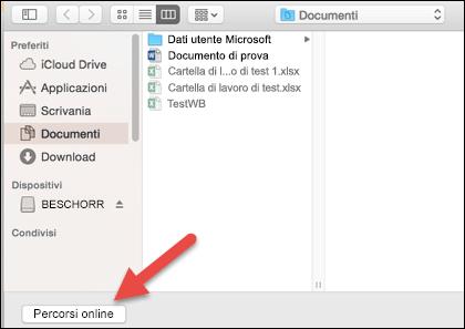 """Menu File > Apri aperto sulla visualizzazione """"Nel mio Mac""""."""