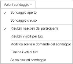 Schermata delle azioni del sondaggio