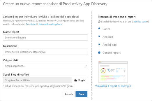 In Office 365 CA, scegliere Discover > Crea nuovo report