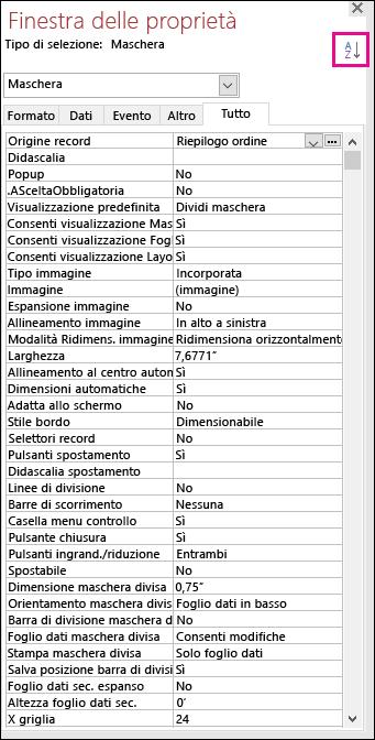 Screenshot della finestra delle proprietà di Access senza ordinamento delle proprietà