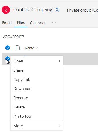 Visualizzazione delle opzioni di eliminazione e ridenominazione di file