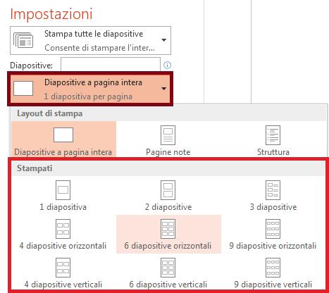 Nel riquadro Stampa fare clic su Diapositive a pagina intera e quindi selezionare un layout nell'elenco Stampati.