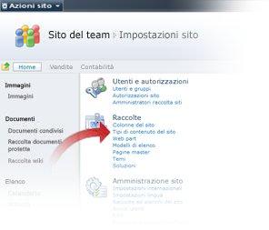 Selezione dei tipi di contenuto per il sito nella finestra Impostazioni sito