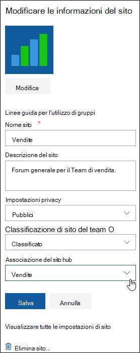 Associare un sito di SharePoint a un sito hub