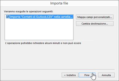 Quando si importano i contatti di Gmail nella cassetta postale di Office 365, fare clic sul pulsante Fine per avviare la migrazione