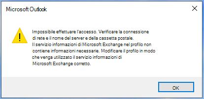 Outlook non può effettuare l'accesso.